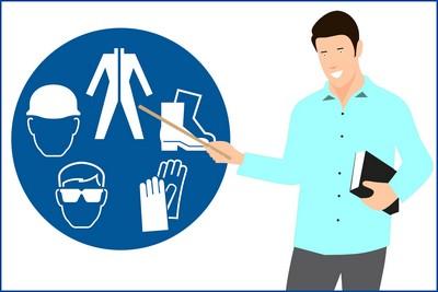 Lehrende Person und Arbeitssicherheit-Symbol